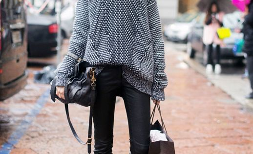 Street Style: Oversized sweater with leather tights, beautiful leather ankle boots and