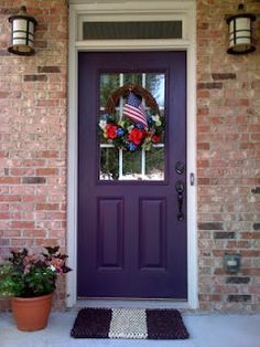 Red Brick Purple Door Painted Front Doors Purple Front Doors