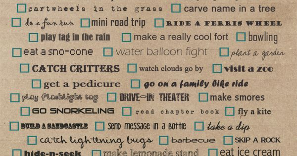 Free Printable Summer Bucket List. Tell us if you end up doing