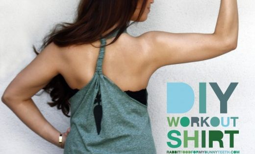 DIY work out tank top. Good idea for old shirts.
