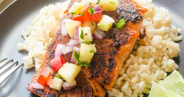 Blackened Salmon with Pineapple Salsa and Coconut Rice ...