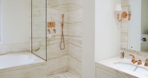 Marble and rose gold bathroom designed by katharine pooley for Rose gold bathroom decor
