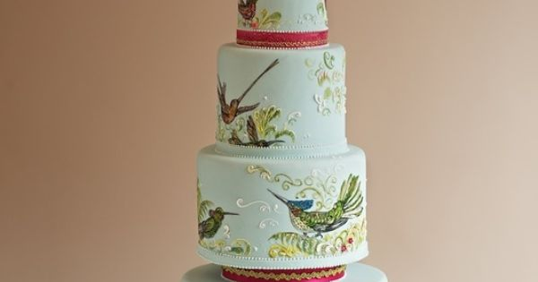 wedding cakes weddings hand painted cakes somebody really likes birds the frostery cake