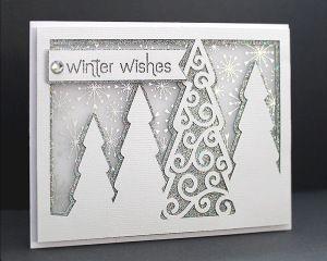 Carte sapins de Noël enneigés   Silhouette Fichiers gratuits