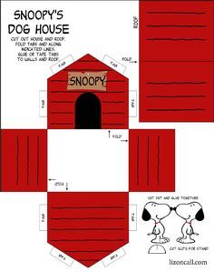 Printable Snoopy Dog House Kid Craft Com Imagens Festa