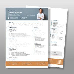 Lebenslauf Muster Vorlage Anton Ansicht Erste Seite Und Zweite Seite Des Lebenslaufes Lebenslauf Lebenslauf Design Cv Lebenslauf