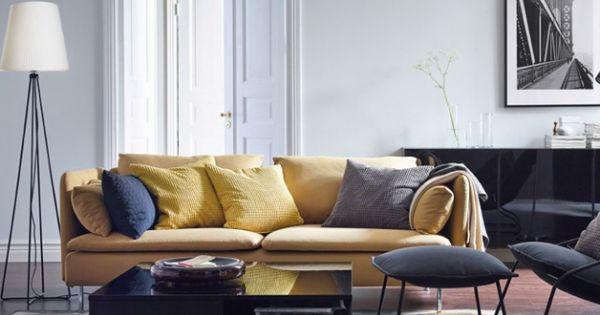 Salon avec canap jaune moutarde ikea salon living for Canape jaune ikea