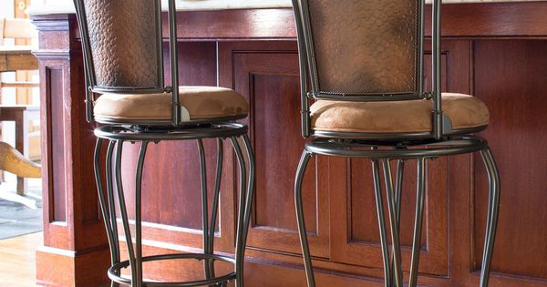Rustic Metal Bar Stool Padded Seat Hammered Copper High