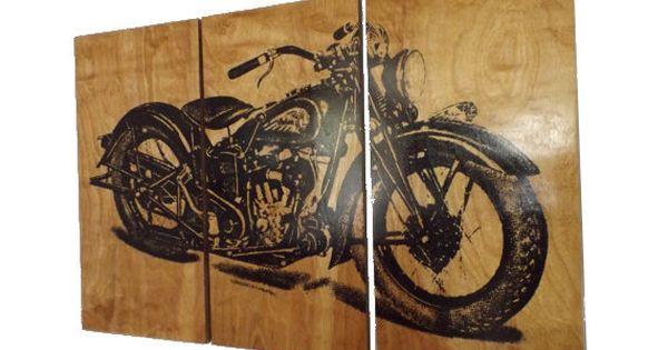 Motorcycle Man Cave Decor: Vintage Motorcycle Screen Print Wood Painting Wall Art