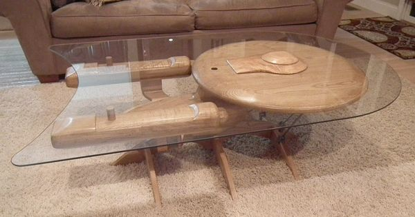 Starship Enterprise Coffee Table Cherry, ash and poplar wood are used in