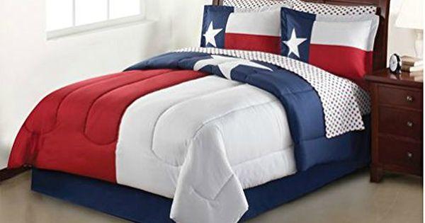 Texas Lone Star Patriotic Red White Blue Full Comforter Set 8