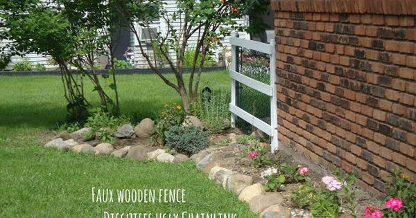 Landscaping Ideas To Hide Ugly Fence : Faux wooden fence to cover up the ugly chain link instant curb