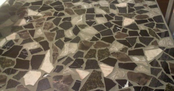 Free Mosiac Vanity Shower Floor Tile Recycled Granite Tile Stained