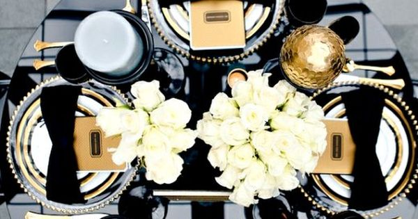 Lustworthy. - thedecorista: planning a dinner party… inspired...Formal black tie table setting.