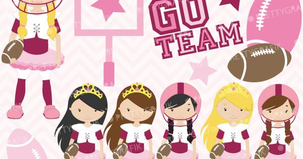 Touchdown Girls Girly Football And Tutu Clipart For