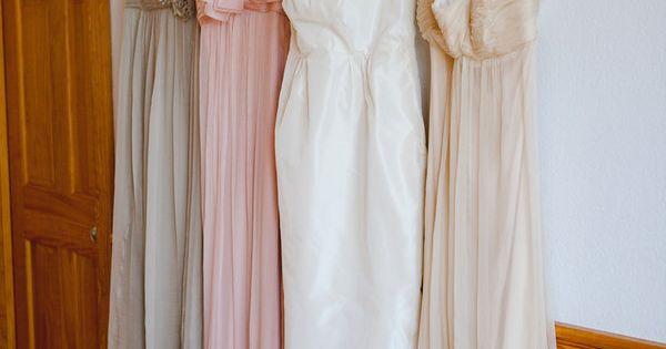 Amsale bridesmaids in vanilla, blush & champagne