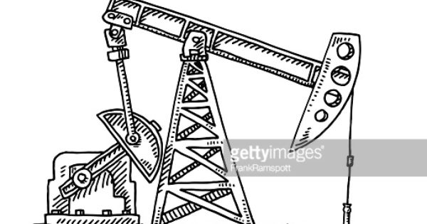 Hand Drawn Vector Drawing Of An Oil Industry Pump Jack Oil Industry Jack Tattoo Tattoo Oil