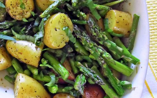 Roast potato asparagus recipe.