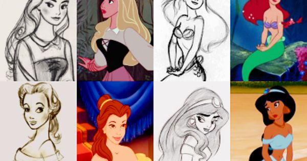 Disney Princess sketches.