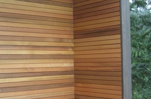Modern cedar horizontal wood siding home with dark for Horizontal wood siding panels