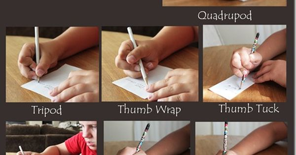 Types of handwriting grips. FYI: Love this OT, Pediatric Occupational Therapy Site.