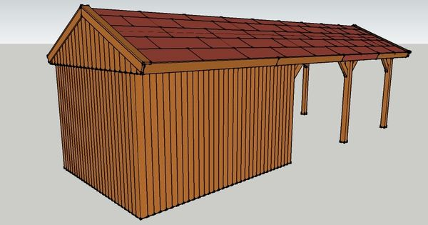 carport 3 x 9 meter mit satteldach und ger teschuppen aus holz zum selber bauen ansicht von der. Black Bedroom Furniture Sets. Home Design Ideas