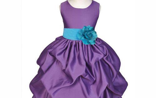 Dark Purple Satin Organza Dress Wedding Flower Girl Pageant Party Size 6 FG234