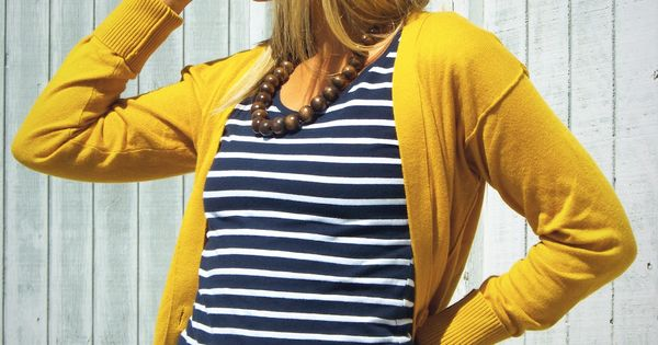 Long bob... and love the navy stripes with the yellow cardigan too!