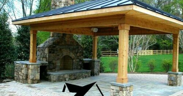 Frisco Tx In Texas Patio Cover Made From Cedar With A Built In Fireplace From Dallas Patios And Exteriors Backyard Backyard Patio Outdoor Rooms