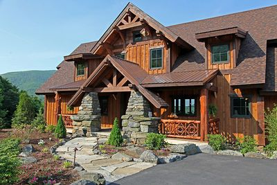 Plan 18813ck Mountain Lodge With Lower Level In 2020 Rustic House Plans Log Cabin House Plans Timber Frame Home Plans