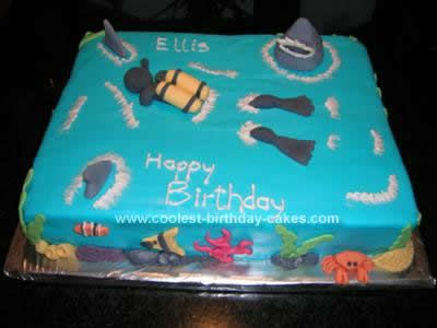 Awesome Coolest Scuba Diving Birthday Cake Design Cake Designs Birthday Funny Birthday Cards Online Alyptdamsfinfo