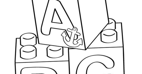 Lego A-B-C Blocks Coloring Page
