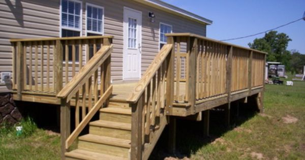 Wood Deck With Railing For Mobile Home Mobile Home Decks
