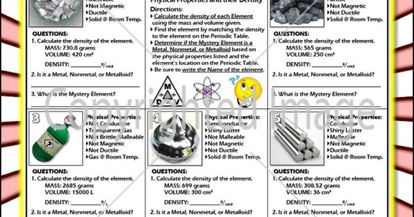 worksheet mystery elements and their density version 2 periodic table worksheets and. Black Bedroom Furniture Sets. Home Design Ideas