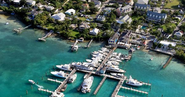 Aerial view of Valentines Resort & Marina on Harbour ...