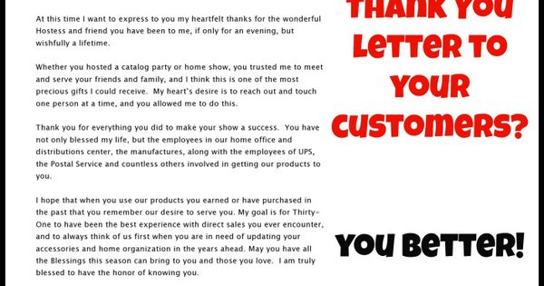 Direct Sales consultantsu2026did you say THANK YOU? Vendite dirette - customer thank you letter