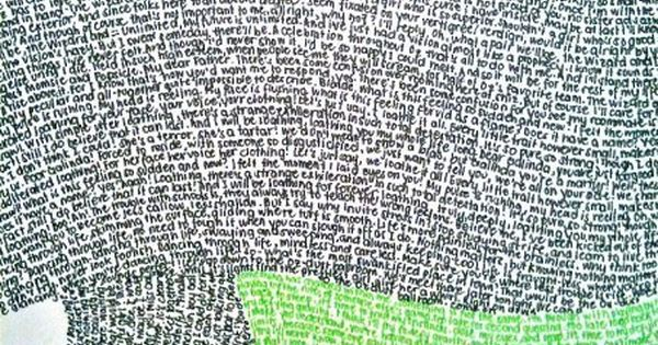 Wicked lyrics in the shape of Elphaba. The green lyrics are Defying