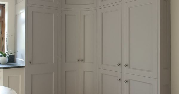 pantry with convex curved doors grey kitchen cabinets bespoke