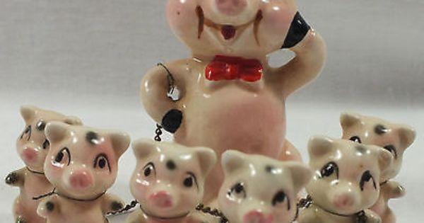 Figurine Chains Pig Figurines Vintage Knick Knacks Pig Decor