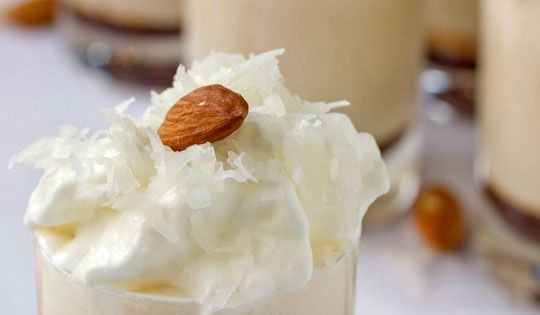 Spiked Almond Joy Milkshakes ~ 3 cups french vanilla ice cream, 1/2