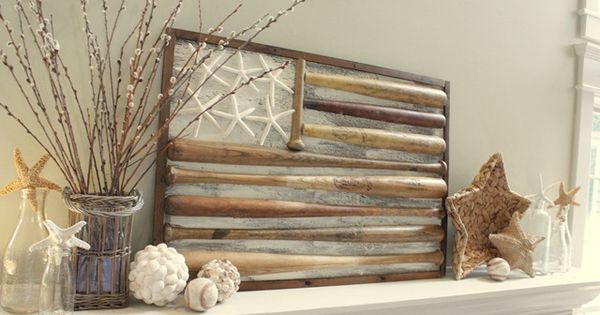 Neutral Summer Mantel with Baseball Bat Flag! This would also be cool