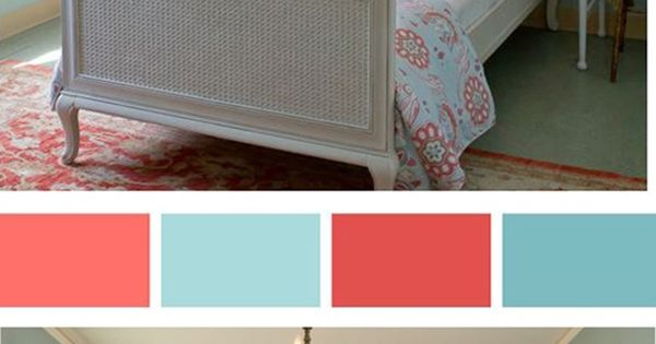 coral and ice blue palette | color scheme for guest room??