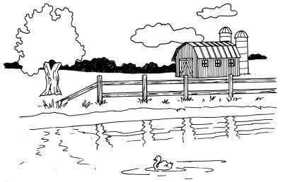 How To Draw A Barn And Pond In 5 Steps Barn Art Landscape Drawings Drawings