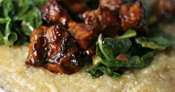 Savory grits with bbq tempeh and collard greens recipe for Creamy polenta with mushrooms and collards