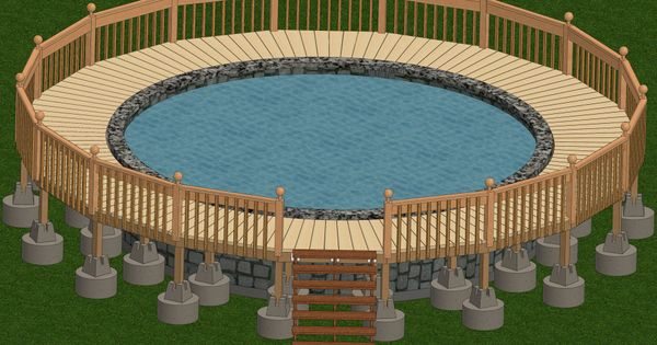 Marvelous Round Pool Deck Plan With Wooden Pool Deck