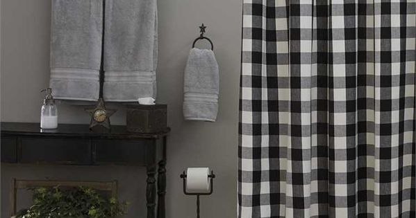Wicklow Black And Cream Shower Curtain By Park Designs Black Curtains Fabric Shower Curtains