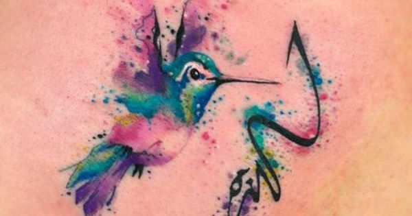 Watercolor hummingbird Tattooed by Javi Wolf