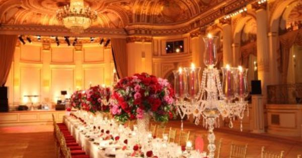 One long rectangular table for 90 at The Plaza in NYC. Gorgeous