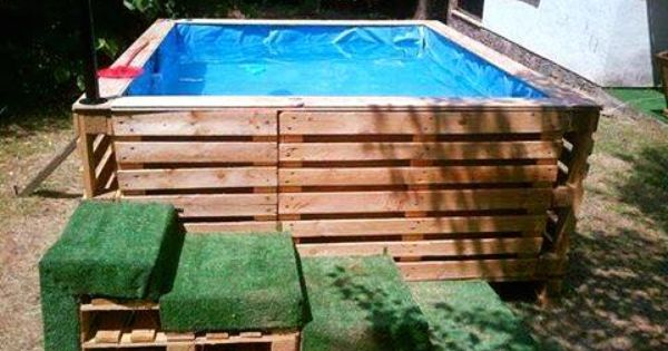 Swimming pool pallet garden pinterest swimming for Garden pool made from pallets