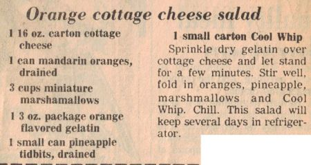 One Of My Daughter S Favorite Recipes That Her Grammy Makes Cottage Cheese Jello Mandarin Oranges An Cottage Cheese Salad Cheese Salad Recipes Cheese Salad